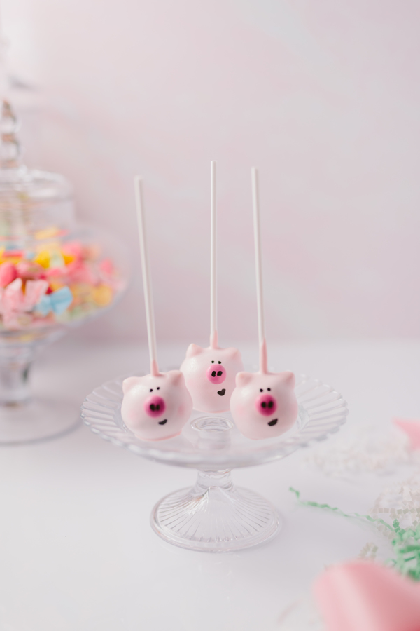 Handcrafted pig cake pops