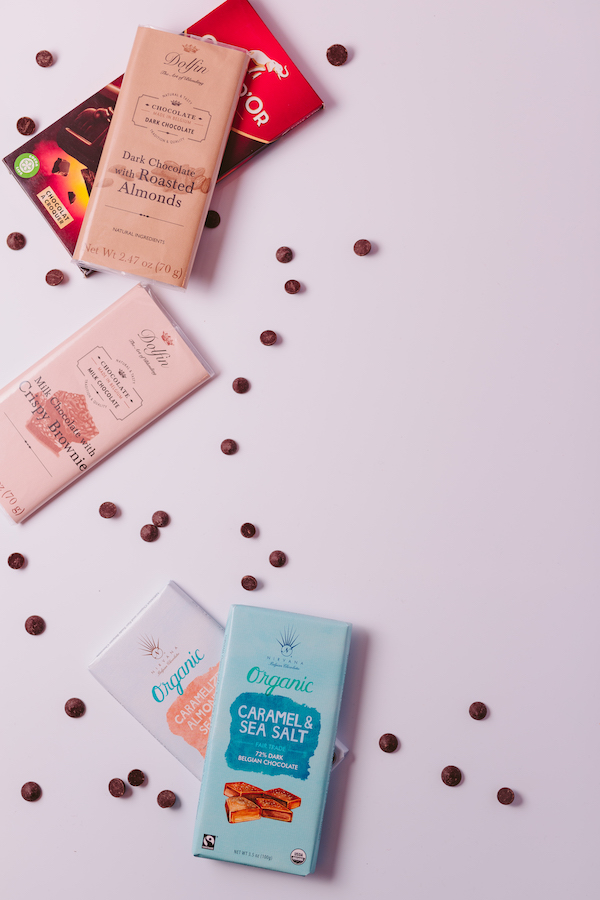 Specialty chocolate bars on table